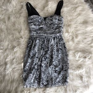 BCBGeneration Gray and Black Formal Dress
